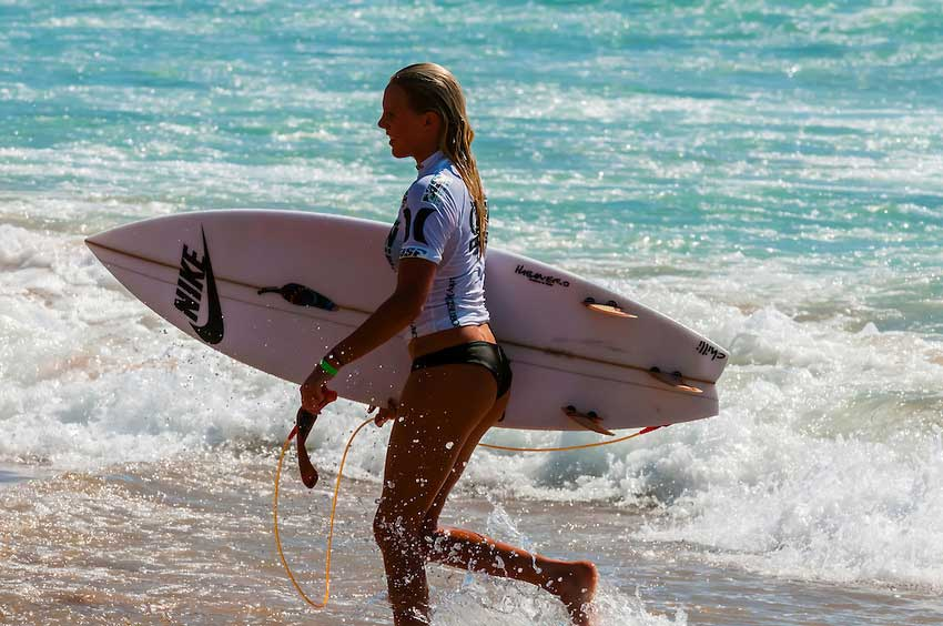 female pro surfer in manly